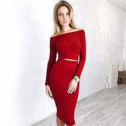 6509df329f 2 Piece Set Women Tight Knited Outfits 2018 Sets Sexy Slash Neck  Long-Sleeve Crop Top And Midi Bodycon Skirts SW-026