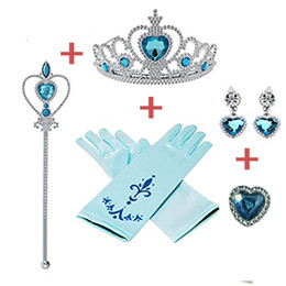 fairy stick wand Canada - Girl Princess Accessories Headpieces Love Stick Diamond Crown Magic Wand Ice Romance With The Crown Four-Piece Suit