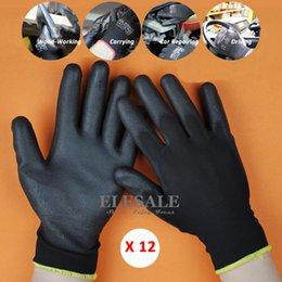 $enCountryForm.capitalKeyWord Australia - 12 Pairs New Work Safety Gloves Nylon Knitted Gloves With PU Coated For Gardener Builder Driver Mechanic Protective Gloves D18110705
