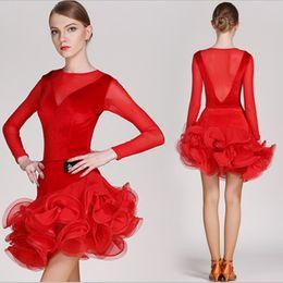 43f9c65bdd9 Adult Girls Latin Dance Dress Salsa Tango Chacha Ballroom Competition Dance  Dress Mesh Stitching Long sleeves Velvet Skirt Suit Red Black
