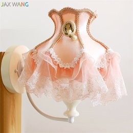 Korean Style Pink Fabric Wall Lamp Princess Lace Wall Lights For Children  Room Girl Bedroom Bedside Lamp Wedding Room Decoration