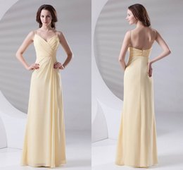 75c26b4211 Light Yellow Pleats Cheap Chiffon Bridesmaid Dress 2018 Spaghetti Floor  Length Maid of Honor Wedding Guest Dresses Cheap Long ZPT433
