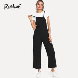 20188 ROMWE Slip Overall Black Long Pants Women Straps Sleeveless Mid Waist  Wide Leg 2018 Summer Female Plain Casual Jumpsuit c4b912d8b