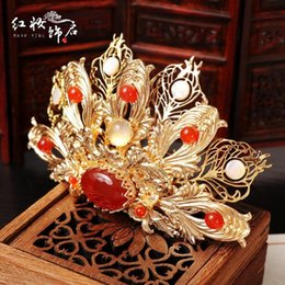 antique gold crown Canada - Boutique Ancient Chinese antique hand-brushed gold headdress suit Chinese costume hairpin hairpin crown