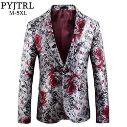 $enCountryForm.capitalKeyWord Australia - PYJTRL High Quality Jacquard Rose Floral Pattern Casual Blazer Hombre Men Terno Masculino Slim Fit Suit Jacket Homme Mariage