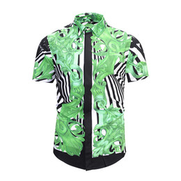 $enCountryForm.capitalKeyWord UK - 2018 Summer Men's Leaf geometric printing flowers and plants geometry printing color mixed high-grade leisure Harajuku shirt short