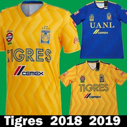 New 2018 2019 Tigres UANL Home Yellow GIGNAC GUERRON Soccer Jerseys 18 19  MexicoTigres Away Blue Football Shirts Liga MX Free DHL shipping 0cb42a608