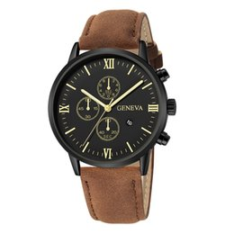 Wholesale Geneva Rhinestone Fashion Geneva Men Date Alloy Case Synthetic Leather Analog Quartz Sport Watch Relogio Masculino Saat Gift
