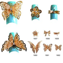 3d Nail Decor Canada - 1PCS NEW Arrival Charm Bow Ties 3d Alloy Nail Art Decorations Golden Hollow out DIY Butterfly Decor Studs Styling Tools TRND212