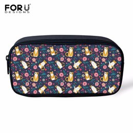$enCountryForm.capitalKeyWord UK - FORUDESIGNS Wholesale Pencil Bag for Child Cat Flower Travel Make Up Cosmetic Bags for Women Girls Pen Stationery Bag Kids
