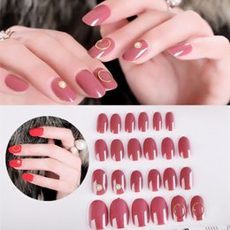 Hollow Fingers Australia - 24pcs set Short False Nails Round Head Solid Color Fake Nail Full Cover Artificial Wear Nails Art with Diamond Hollow Circle