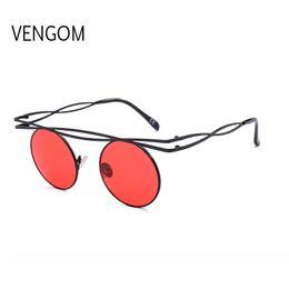 00658b4313e53 Steampunk Sunglasses Men Women Round Metal Sunglass Double Beams Brand  Designer Woman Glasses Fashion Oculos UV400