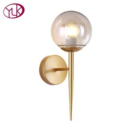 12v touch switch online shopping - Youlaike Brief Modern Wall Lamp For Bedside Glass Lampshade Single Light Gold Wall Sconce Light Creative Design Hallway