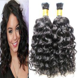 Human Hair Weave Bonding Australia - Brazilian I Tip Pre-bonded I Tip Pre Bonded Curly Hair Weave Bundles Natural Color 100% Human Hair Bundles 10-26 Inch Remy Hair Extension