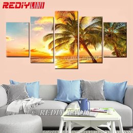 $enCountryForm.capitalKeyWord Australia - wholesale Diamond Painting Cross Stitch Triptych Diamond Mosaic Summer 5 Panels Modular Picture Wall Arts Crystal Diamond Embroidery