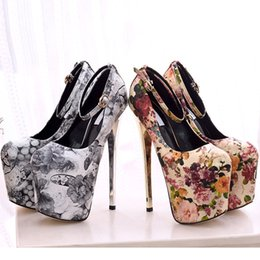 ethnics shoes Australia - Ethnic Style High Heels Pumps Female Party Shoes with Platform Retro Printed Leather Buckle Women's Shoes 34--43