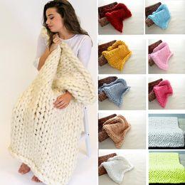 Linen bLankets online shopping - 13 Color cm Polyster Knitted Blanket Handmade Crochet Linen Woolen Bed Sofa Plane Blanket In Photo Christmas Gifts WX9