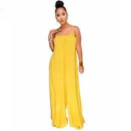 7eef58e1295 Spaghetti Strap Sexy Loose Rompers Summer Sleeveless Backless Plus Size  Jumpsuit Casual Yellow Wide Leg Overall For Women
