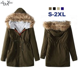 yellow long women button down UK - Western style 2017 Female Jacket coat fur collar Women Winter fashion army green Jackets slim zipper Coats Parkas ouc1786