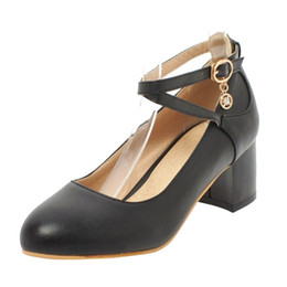 26c4831a6dc4 Smilice 2018 Woman Pumps with Chunky Heel and Round Toe Elegant Style Chic  Shoes Soft Leather with Large Size Available A136