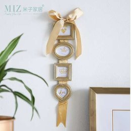 Box Frames Mounts Australia - Miz Photo Frame Hanging Picture Frame Set 4 Boxes Photo Frames Wall Mounted Home Decoration Accessories Gold Color Frame
