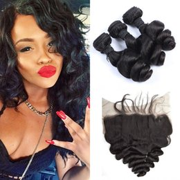 Full Lace Weave Human Hair NZ - 13*6inch Full Frontal Lace Closure With 3Bundles Natural Black Virgin Mongolian Loose Wave Human Hair Weaves 8-30inch G-EASY