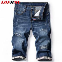 d5fded9f33 venta al por mayor Cowboy Mens Shorte moda Inglaterra estilo Shorts  casuales Hombres Ropa Denim Cotton Acetate 2018 Summer New Jeans Blue