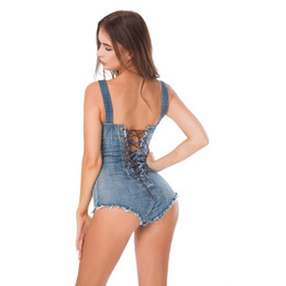 China Women Summer Jeans Denim Blue Overalls Party Club Sexy Backless Lace Up Jumpsuits Stage Apparel Booty Shorts Cute Denim Jeans cheap light denim short overalls suppliers