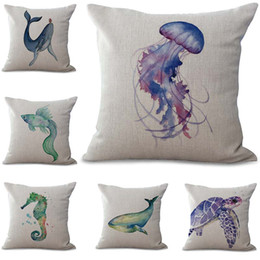 1321a407797d Ocean Sea Horse Turtle Crab whale Pillow Case Cushion cover linen cotton  Throw Square Pillowcase Cover Drop Ship 300835