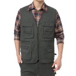 orange photography 2018 - Man's Multi-Pocket Cotton Waistcoat Photography Vest Vest Beige Green L-5XL VT-089 cheap orange photography
