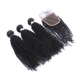 China Brazilian 9A Kinky Curly Hair Bundles With Lace Closure 4pcs lot Free Part Afro Kinky curly Lace Closure 4x4 With Human Hair cheap afro kinky human hair suppliers