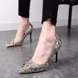 list shoes NZ - 2018 New listing fashion women dress shoes high heels sequins flowers pumps baotou pointed heels 45
