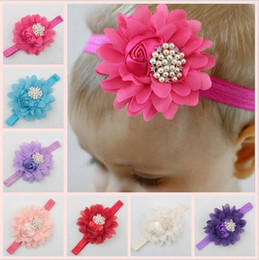 Rosette baby kids online shopping - Baby Headbands Big Flowers Rhinestone baby Girls wearing hair band satin rosette fabric Kids Children boutique hair accessories KHA296