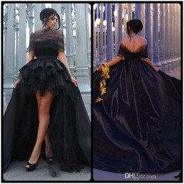 Picture Dress Mother Daughter Australia - Black High Low Evening Dresses Satin Tulle Short Front Long Back Sexy Gorgeous Arabic Evening Gowns Mother Daughter Matching Dress Customize