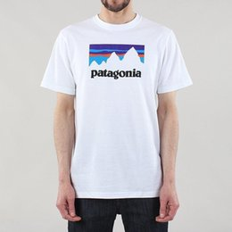 Toptan satış Patagonya erkek Yeni Dükkanı Sticker Responsibili-Tee Polyester Pamuklu Tişört Beyaz