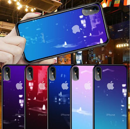 Case iphone siliCone white online shopping - Luxury Aurora Colorful Gradient Phone Case for iPhone X XS Max s Plus Ultra Thin Soft TPU Bumper Tempered Glass Cover