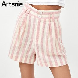 Venta al por mayor de Artsnie Pink rayas pantalones cortos de cintura alta mujeres Summer 2018 bolsillos dobles Linen Girls pantalones cortos sexy Feminino Streetwear