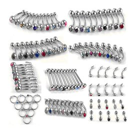 Lip barbeLL online shopping - 100pcs Set Punk Stainless Steel Crystal Tongue Belly Lip Eyebrow Nose Barbell Rings Body Piercing Jewelry Styles Accessories