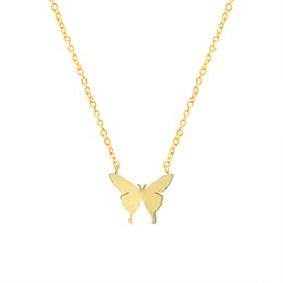 Discount necklace for girlfriend christmas gift - 10pcs lot Stainless Steel Butterfly Necklaces For Women Jewelry Girlfriend Gold Silver Chain Tattoo Choker Wedding Gift
