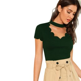 a5fc63c2 Green Elegant Mock Neck Scallop Trim Tee Cut Out V Collar Solid Tee Summer  Women Weekend Casual T-Shirt Top Female
