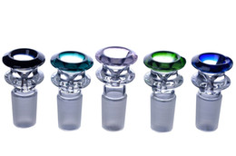 Glass doGo bowl online shopping - 14mm mm male thick color Smoking Bowl nail Holder dry herb holder for water glass bongs pipes hookah random color Dogo