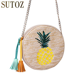 Discount cross bags for girls - Pineapple Cute Round Bag for Girls Soft Woven Straw Clutch Circle Cross Body Bags Women Straw Weave Beach Bag Purse Fema
