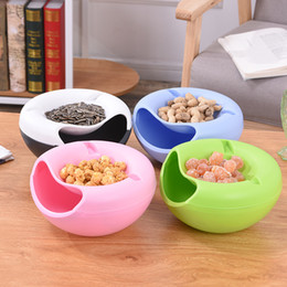 seed box wholesale 2021 - New Arrive Food Fruit Storage Tray Portable Double Layers Peel Seeds Snacks Plate Bowl Phone Holder Room Storage Box 4 Colors