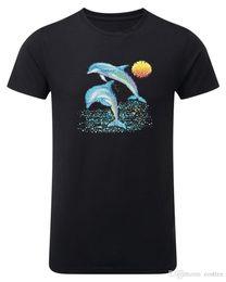 Black Dolphin Shirt Australia - Dolphin Blue Sun Mens T-shirt Unisex Top Black T-shirt JB
