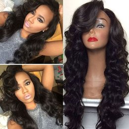 long wigs side bangs 2020 - Side part fluffy wavy bang loose wavy lace front human hair wig pre plucked peruvian hair 360 lace frontal wig 180% dens