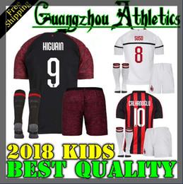 2018 AC Milan Soccer Jersey niños 18 19 HIGUAIN Camiseta de fútbol en casa  personalizada   9HIGUAIN   10 CALHANOGLU   19 camiseta de fútbol BONUCCI 04731d710b9ec
