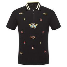 brand mens polo NZ - Summer Mens t shirts Fashion Casual Bee Pattern Embroidery Designer Polo Shirts Brand Tag Male Lapel Short Sleeve Tees