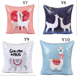 sequin cushions covers NZ - Mermaid Sequins Sofa Pillow Case Cartoon Alpaca Cushion Cover Glitter Vicuna Pillowcase Reversible Sequins Pillow cover 40*40cm CNY743