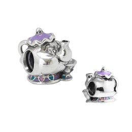 enamel teapots Canada - 2017 New Sterling Disny Teapot Mrs. Potts & Chip Charms Mixed Enamel Beads For Fashion Diy Jewelry Making Fit Original Bracelets