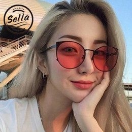 141233bd0d6 Sella Fashion Women Summer Vintage Cateye Reflective Sunglasses Female  Mirror Lens Oversized Round Tint Red Lens Sun Glasses